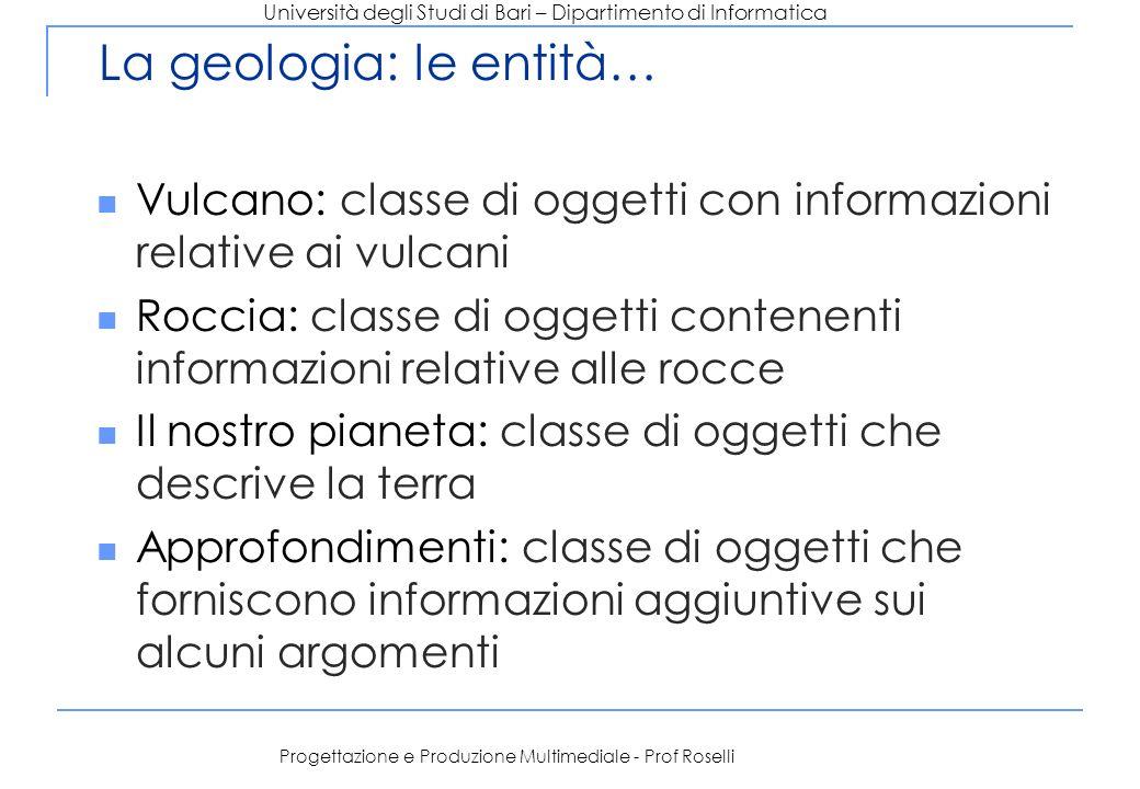 Università degli Studi di Bari – Dipartimento di Informatica Progettazione e Produzione Multimediale - Prof Roselli La geologia: le entità… Vulcano: c