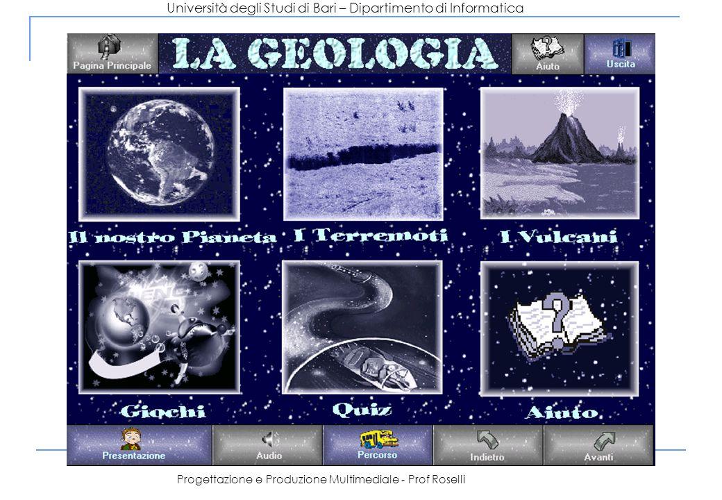 Università degli Studi di Bari – Dipartimento di Informatica Progettazione e Produzione Multimediale - Prof Roselli Terremoto Vulcano Il nostro pianeta Gioco Roccia Minerali È compost o di È relativo a Approfondimento È arricchit o da