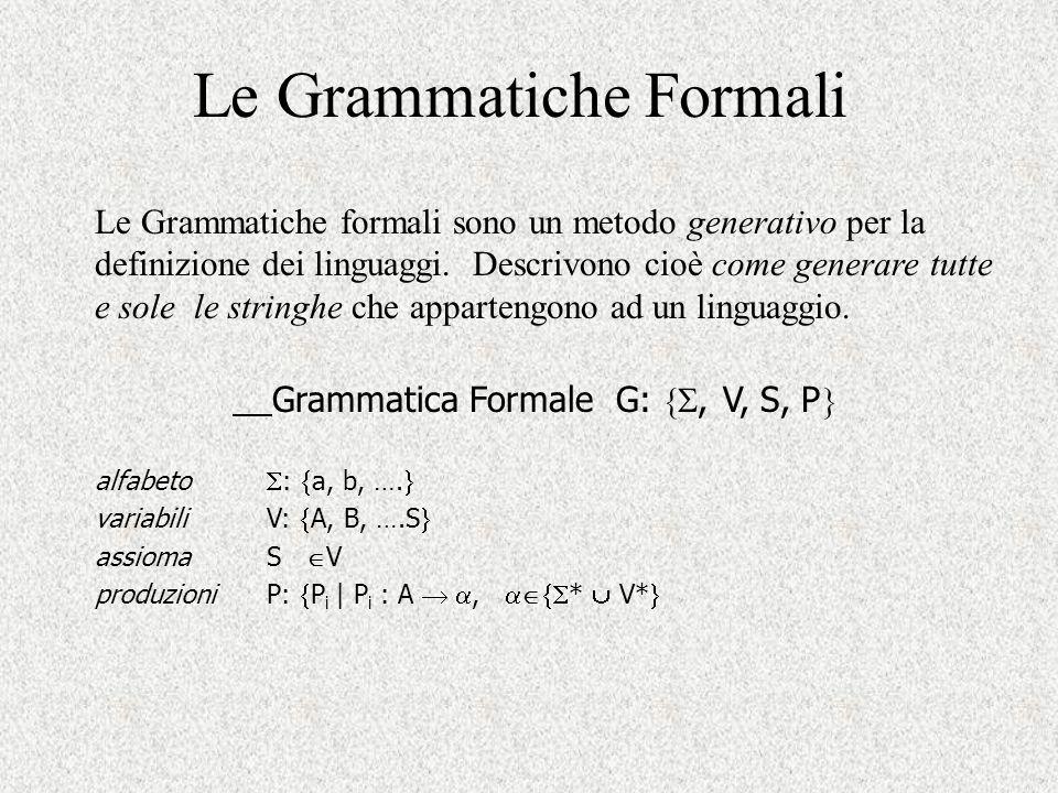 Le Grammatiche Formali Le Grammatiche formali sono un metodo generativo per la definizione dei linguaggi. Descrivono cioè come generare tutte e sole l