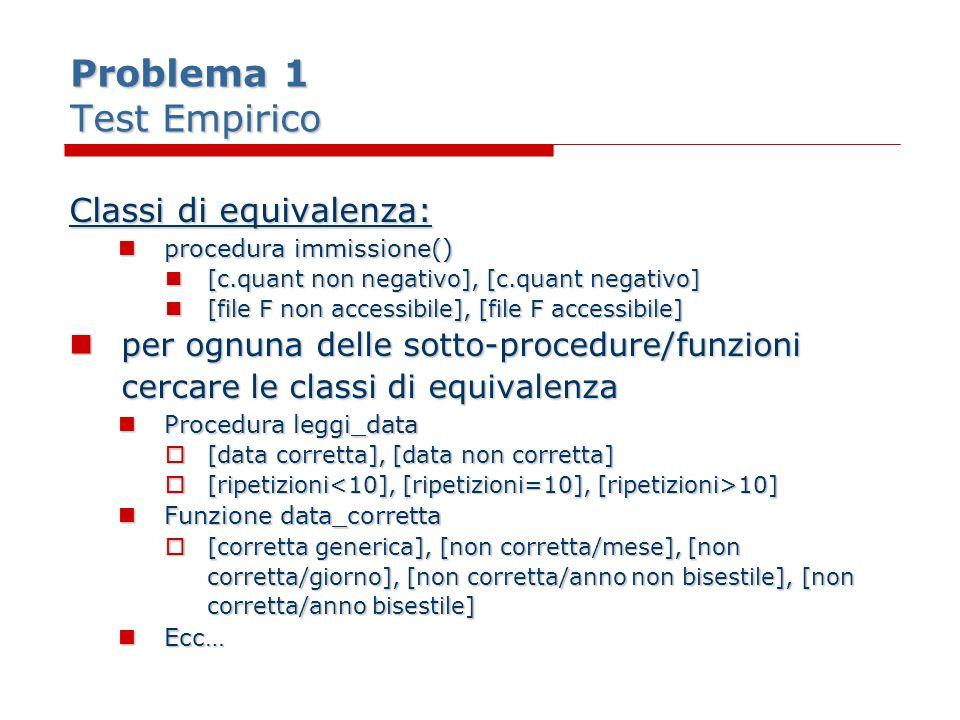 Problema 1 Test Empirico Classi di equivalenza: procedura immissione() procedura immissione() [c.quant non negativo], [c.quant negativo] [c.quant non