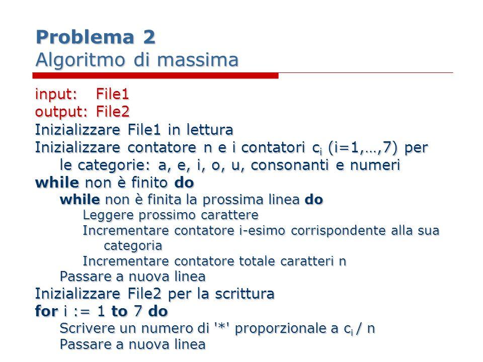 Problema 2 Algoritmo di massima input:File1 output:File2 Inizializzare File1 in lettura Inizializzare contatore n e i contatori c i (i=1,…,7) per le c