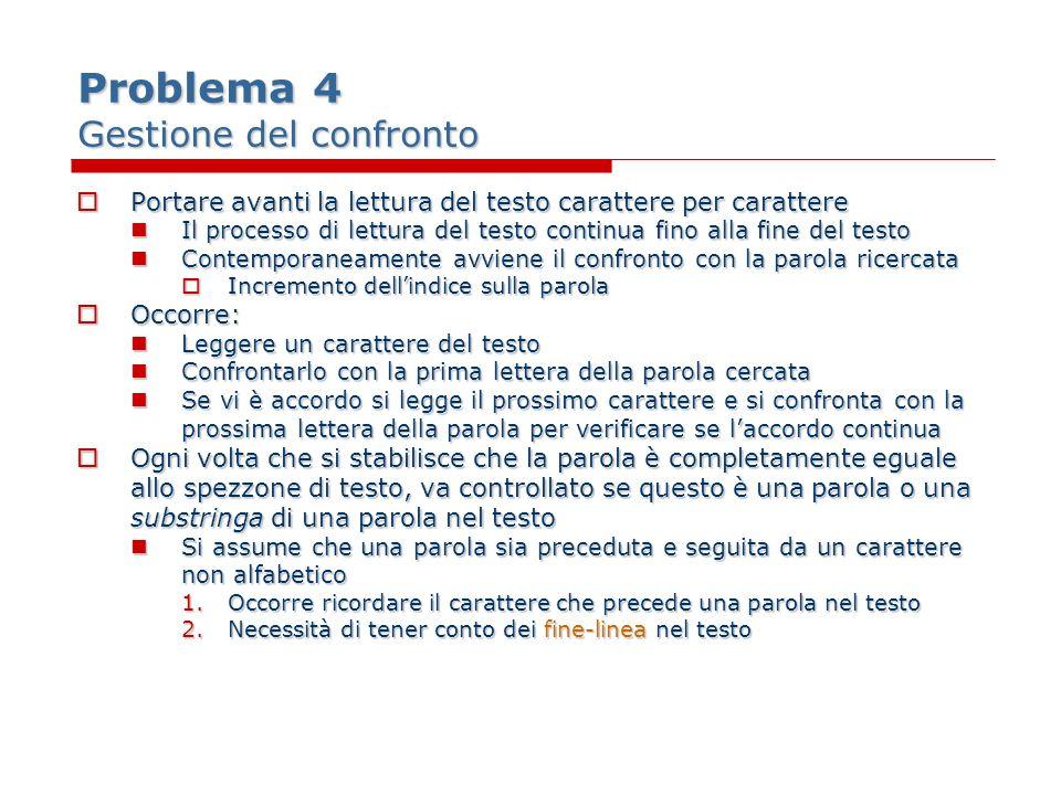 Problema 4 Gestione del confronto Portare avanti la lettura del testo carattere per carattere Portare avanti la lettura del testo carattere per caratt