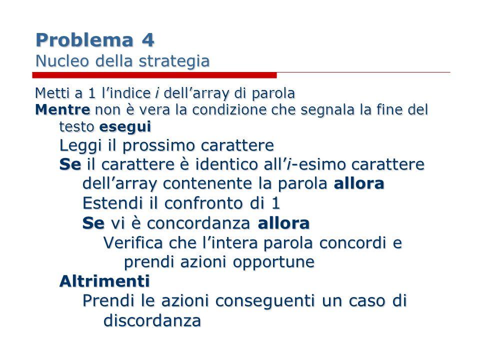Problema 4 Nucleo della strategia Metti a 1 lindice i dellarray di parola Mentre non è vera la condizione che segnala la fine del testo esegui Leggi i