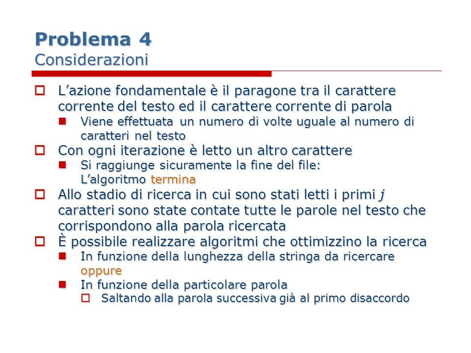 Problema 4 Considerazioni Lazione fondamentale è il paragone tra il carattere corrente del testo ed il carattere corrente di parola Lazione fondamenta