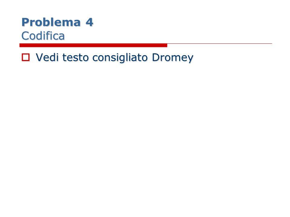 Problema 4 Codifica Vedi testo consigliato Dromey Vedi testo consigliato Dromey