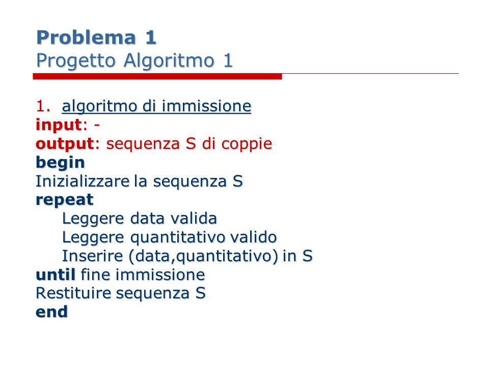 Problema 1 Progetto Algoritmo 1 1.algoritmo di immissione input: - output: sequenza S di coppie begin Inizializzare la sequenza S repeat Leggere data