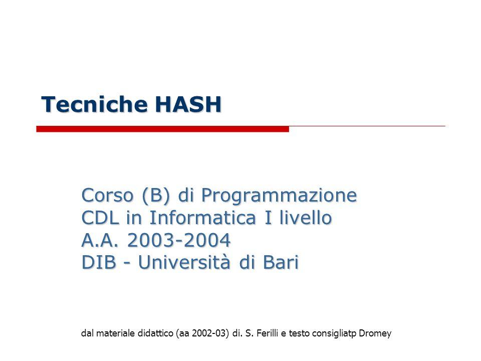 Tecniche HASH Corso (B) di Programmazione CDL in Informatica I livello A.A.