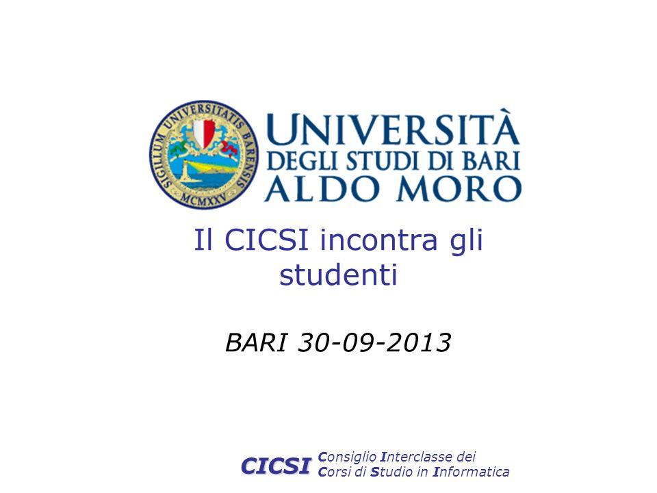 Consiglio Interclasse dei Corsi di Studio in Informatica CICSI Il CICSI incontra gli studenti BARI 30-09-2013