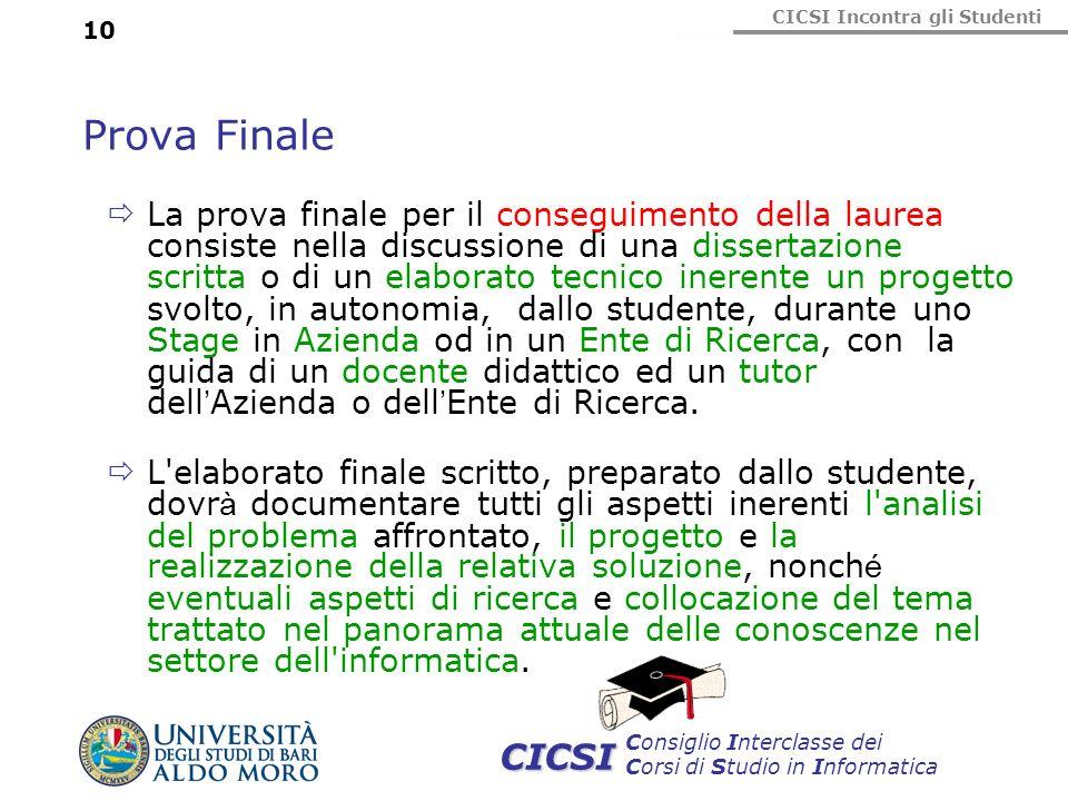 CICSI Incontra gli Studenti Consiglio Interclasse dei Corsi di Studio in Informatica CICSI 10 Prova Finale La prova finale per il conseguimento della