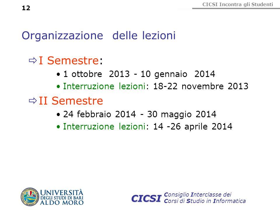 CICSI Incontra gli Studenti Consiglio Interclasse dei Corsi di Studio in Informatica CICSI 12 Organizzazione delle lezioni I Semestre: 1 ottobre 2013