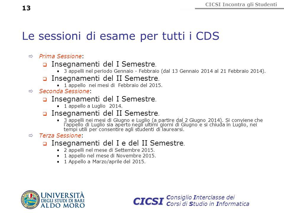 CICSI Incontra gli Studenti Consiglio Interclasse dei Corsi di Studio in Informatica CICSI 13 Le sessioni di esame per tutti i CDS Prima Sessione: Ins