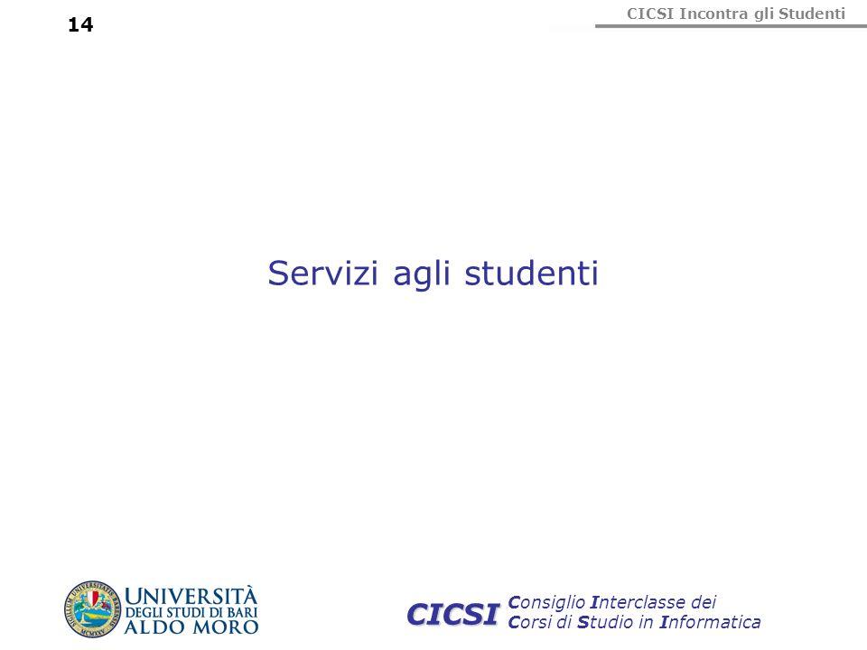 CICSI Incontra gli Studenti Consiglio Interclasse dei Corsi di Studio in Informatica CICSI 14 Servizi agli studenti