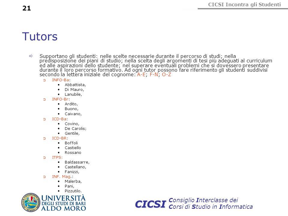 CICSI Incontra gli Studenti Consiglio Interclasse dei Corsi di Studio in Informatica CICSI 21 Tutors Supportano gli studenti: nelle scelte necessarie