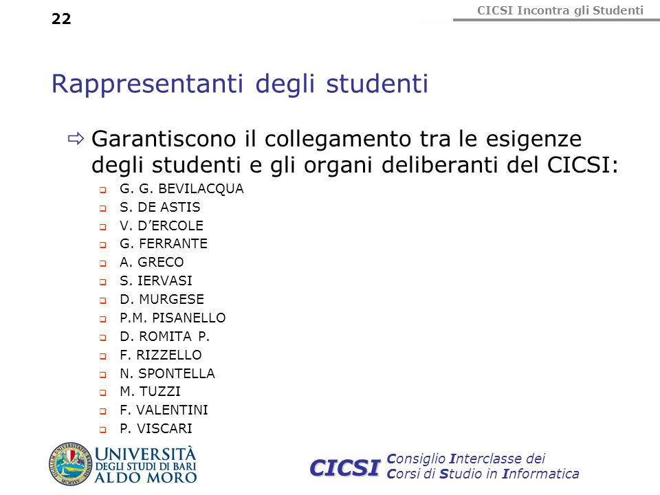 CICSI Incontra gli Studenti Consiglio Interclasse dei Corsi di Studio in Informatica CICSI 22 Rappresentanti degli studenti Garantiscono il collegamen