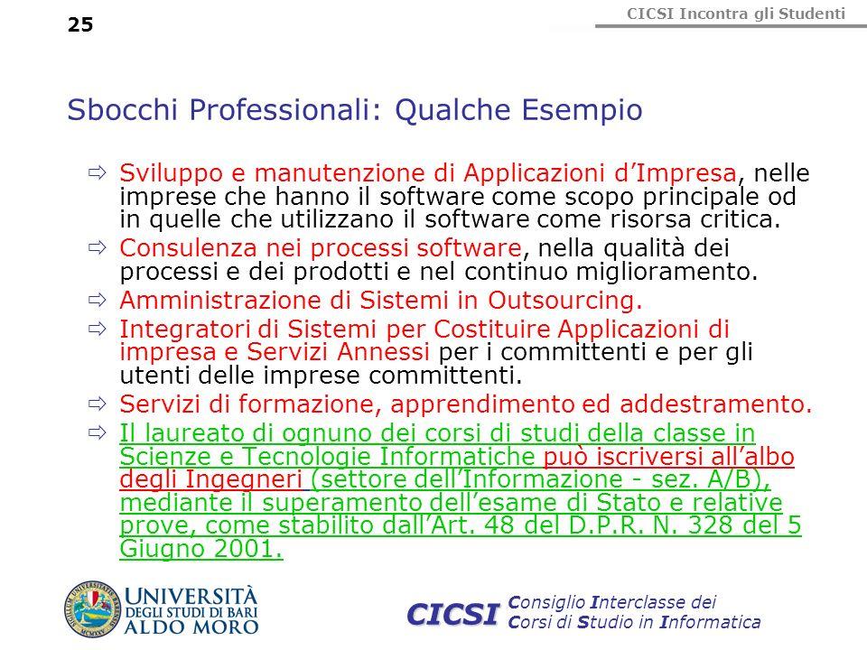 CICSI Incontra gli Studenti Consiglio Interclasse dei Corsi di Studio in Informatica CICSI 25 Sbocchi Professionali: Qualche Esempio Sviluppo e manute