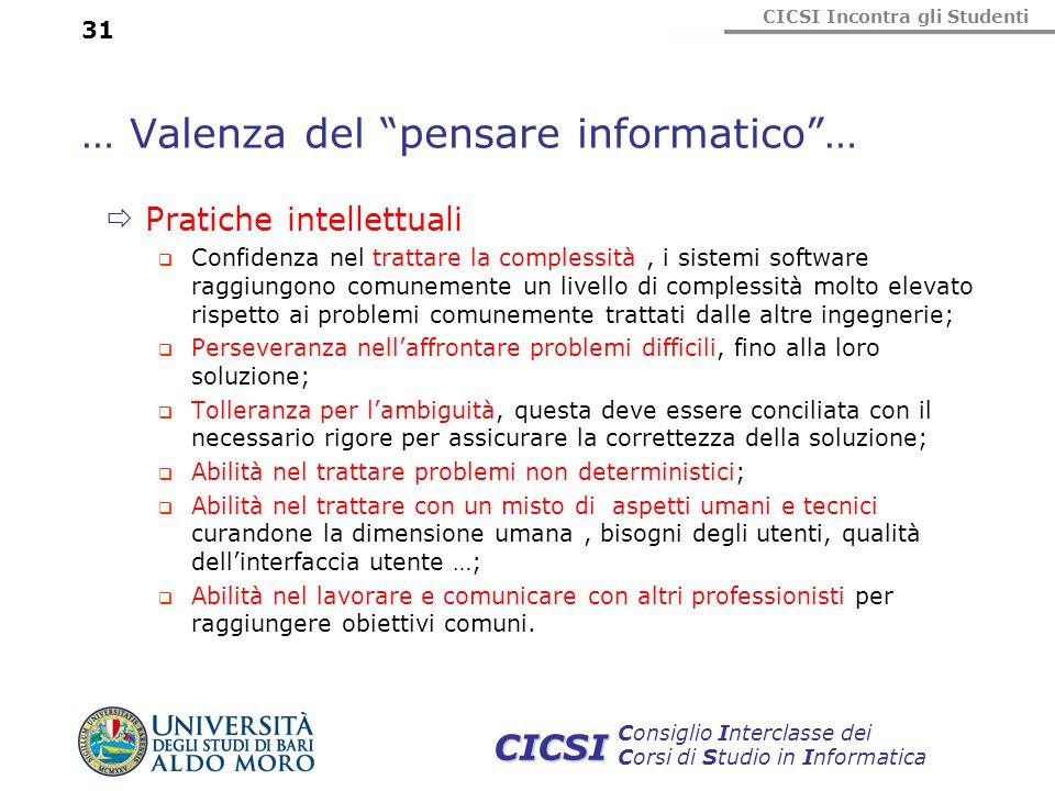 CICSI Incontra gli Studenti Consiglio Interclasse dei Corsi di Studio in Informatica CICSI … Valenza del pensare informatico… Pratiche intellettuali C