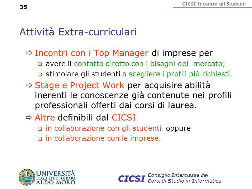 CICSI Incontra gli Studenti Consiglio Interclasse dei Corsi di Studio in Informatica CICSI 35 Attività Extra-curriculari Incontri con i Top Manager di