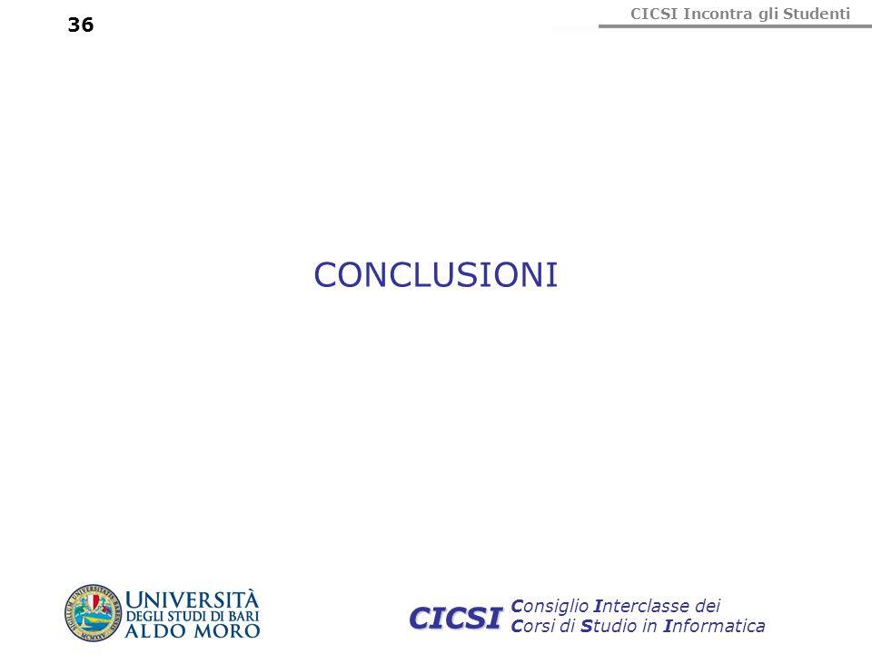 CICSI Incontra gli Studenti Consiglio Interclasse dei Corsi di Studio in Informatica CICSI 36 CONCLUSIONI