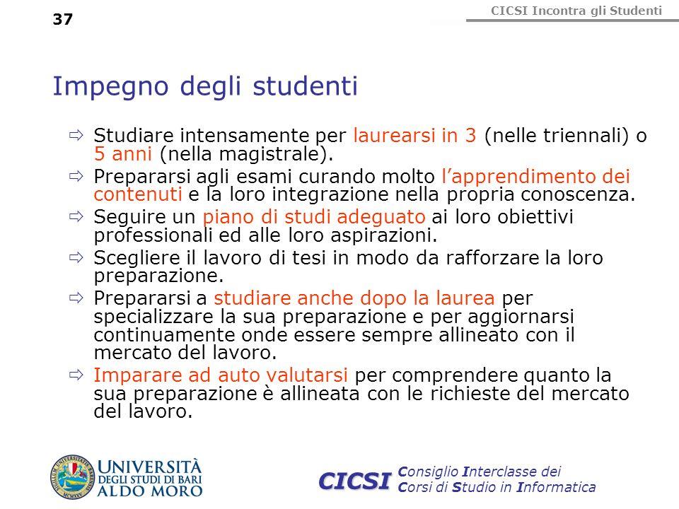 CICSI Incontra gli Studenti Consiglio Interclasse dei Corsi di Studio in Informatica CICSI 37 Impegno degli studenti Studiare intensamente per laurear