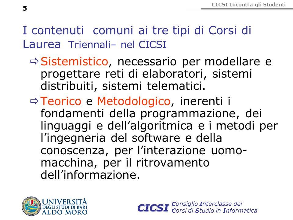 CICSI Incontra gli Studenti Consiglio Interclasse dei Corsi di Studio in Informatica CICSI 5 I contenuti comuni ai tre tipi di Corsi di Laurea Trienna