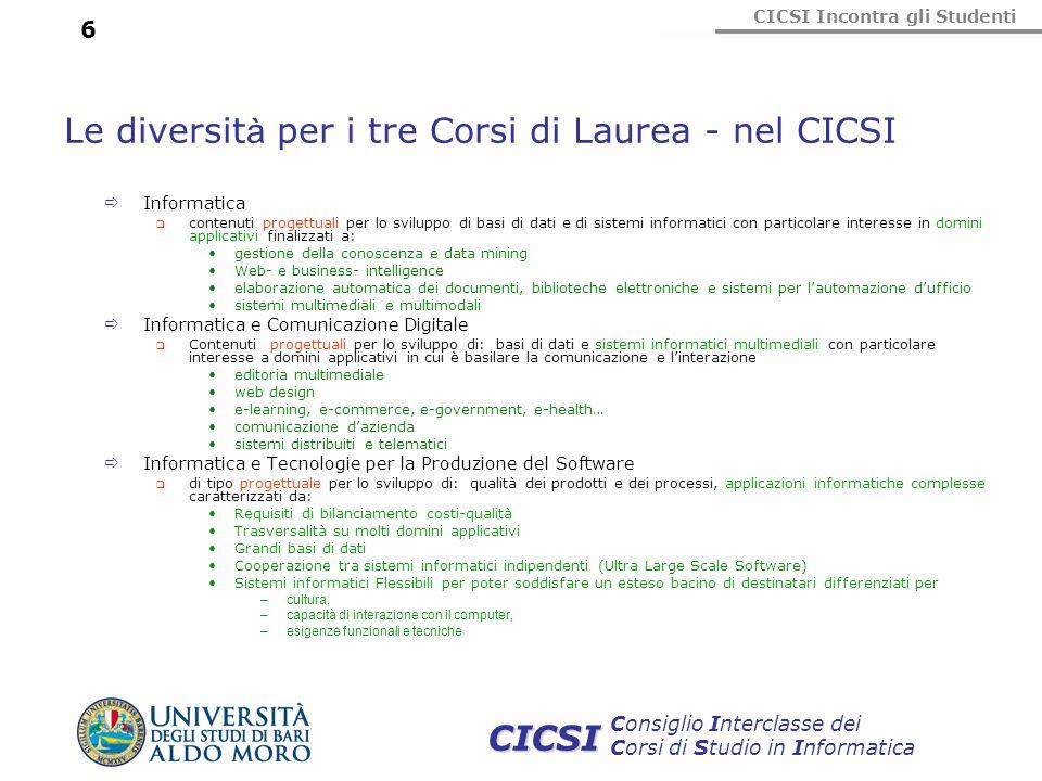 CICSI Incontra gli Studenti Consiglio Interclasse dei Corsi di Studio in Informatica CICSI 6 Le diversit à per i tre Corsi di Laurea - nel CICSI Infor
