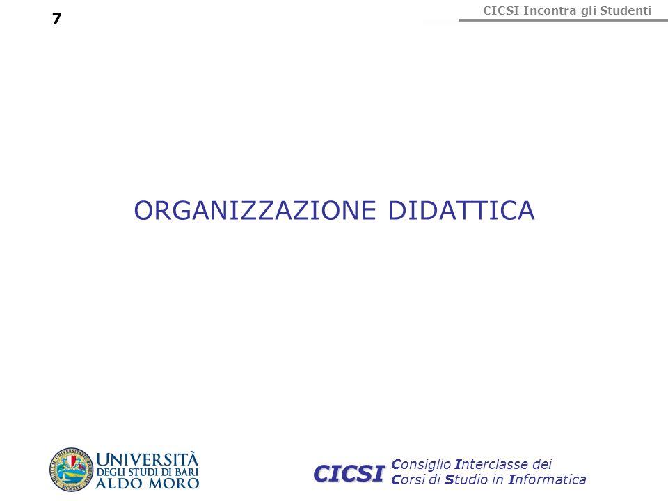 CICSI Incontra gli Studenti Consiglio Interclasse dei Corsi di Studio in Informatica CICSI 7 ORGANIZZAZIONE DIDATTICA