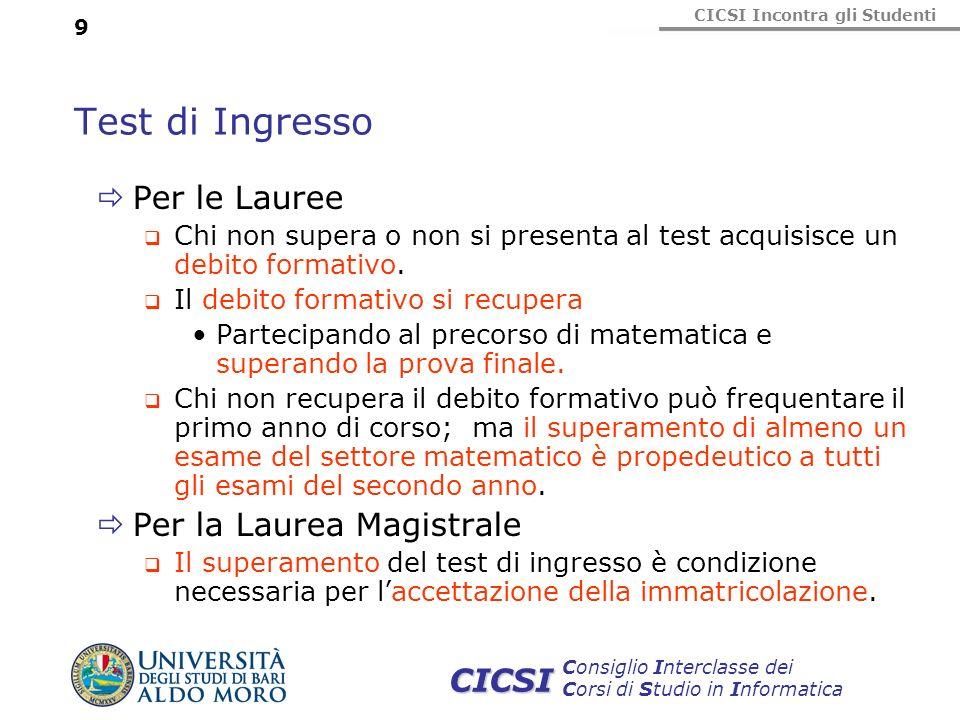 CICSI Incontra gli Studenti Consiglio Interclasse dei Corsi di Studio in Informatica CICSI 9 Test di Ingresso Per le Lauree Chi non supera o non si pr