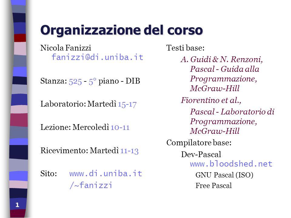 Introduzione: Struttura dei Programmi Pascal Nicola Fanizzi Laboratorio - Corso di Programmazione (B) C.d.L.