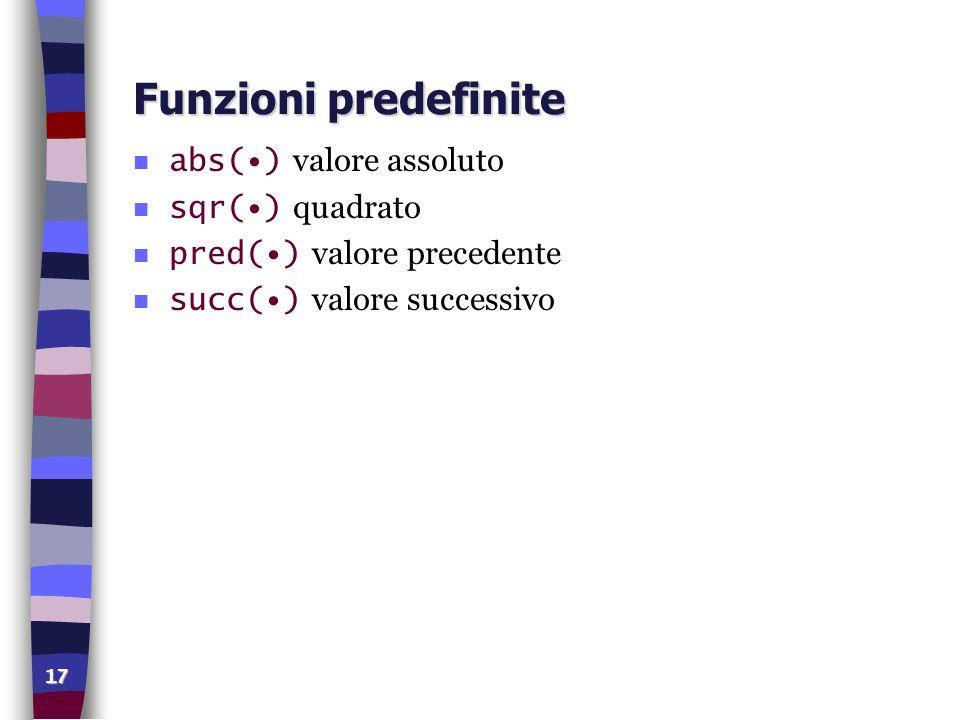 17 Funzioni predefinite abs() valore assoluto sqr() quadrato pred() valore precedente succ() valore successivo