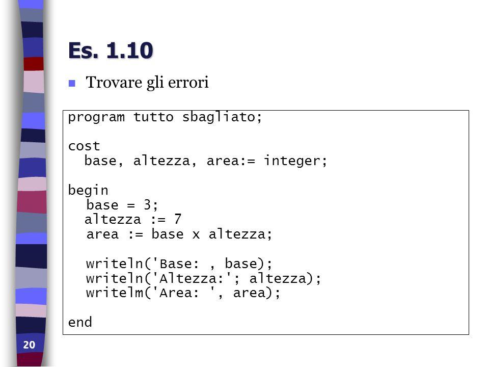 20 Es. 1.10 n Trovare gli errori program tutto sbagliato; cost base, altezza, area:= integer; begin base = 3; altezza := 7 area := base x altezza; wri