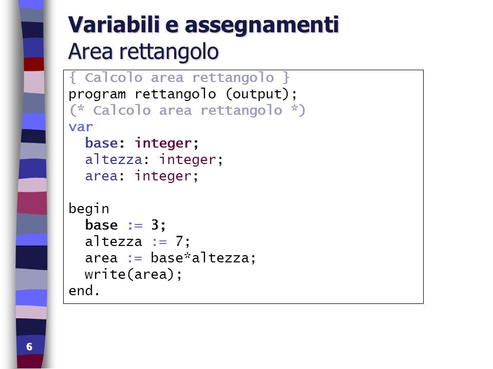 6 Variabili e assegnamenti Area rettangolo { Calcolo area rettangolo } program rettangolo (output); (* Calcolo area rettangolo *) var base: integer; a