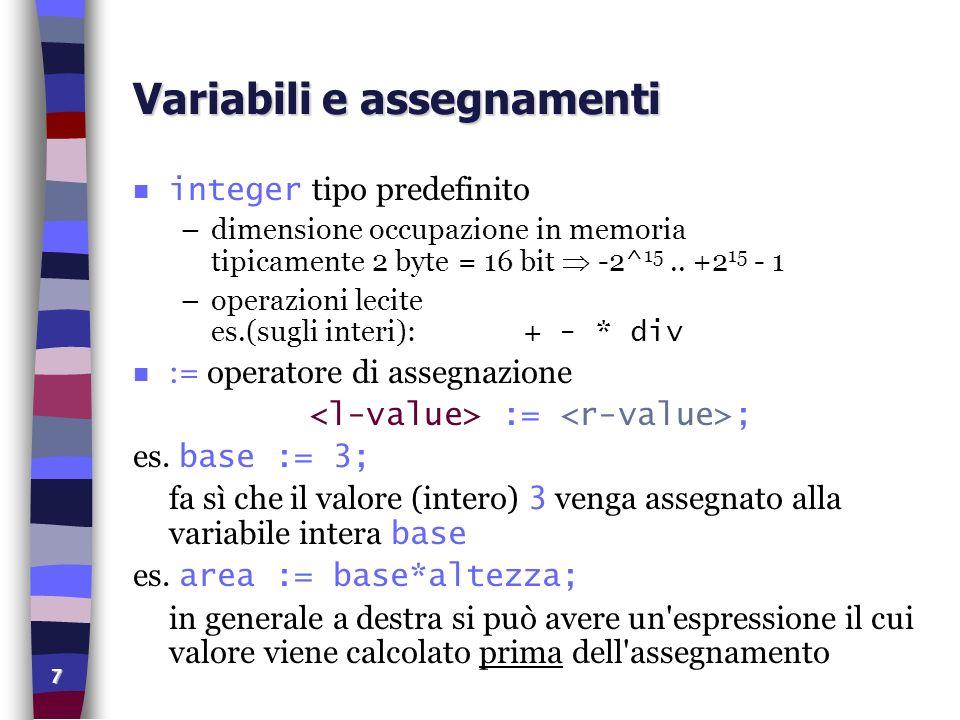 7 Variabili e assegnamenti integer tipo predefinito –dimensione occupazione in memoria tipicamente 2 byte = 16 bit -2^ 15.. +2 15 - 1 –operazioni leci