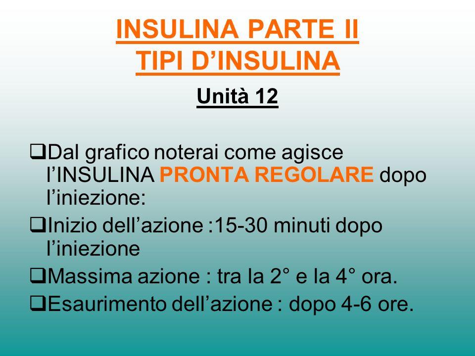 INSULINA PARTE II TIPI DINSULINA Unità 11 Linsulina ad azione Pronta può essere REGOLARE e VELOCE.