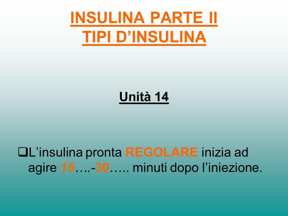 INSULINA PRONTA INIZIO AZIONE PICCO DAZIONE FINE AZIONE REGOLARE30 min1.5 - 3 h 4 – 6 h 5 - 15 min30 m - 3 h3 - 5 h + - VELOCE Mangia in tempoPuoi far