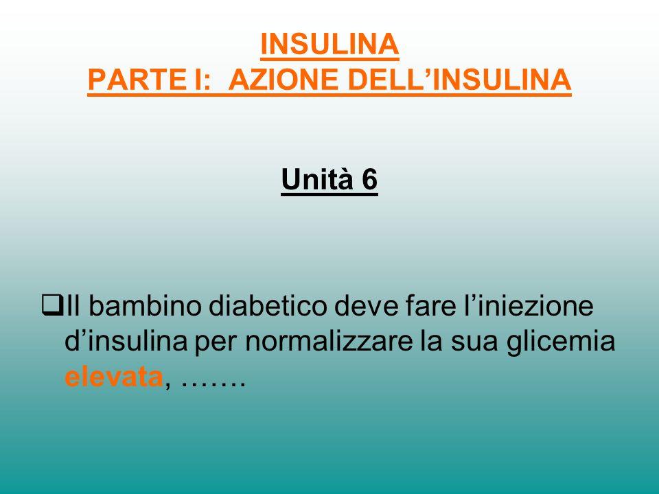 INSULINA PARTE I: AZIONE DELLINSULINA Unità 5 Il bambino diabetico non ha nel suo corpo linsulina e perciò avrà la glicemia elevata. Perciò, per rende