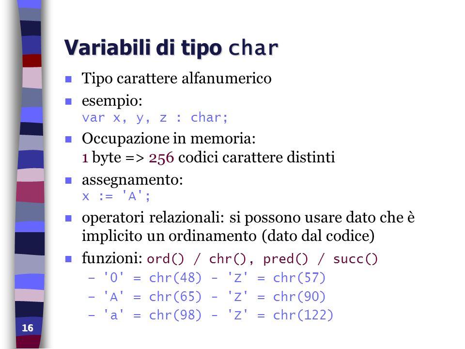 16 Variabili di tipo char n Tipo carattere alfanumerico esempio: var x, y, z : char; n Occupazione in memoria: 1 byte => 256 codici carattere distinti