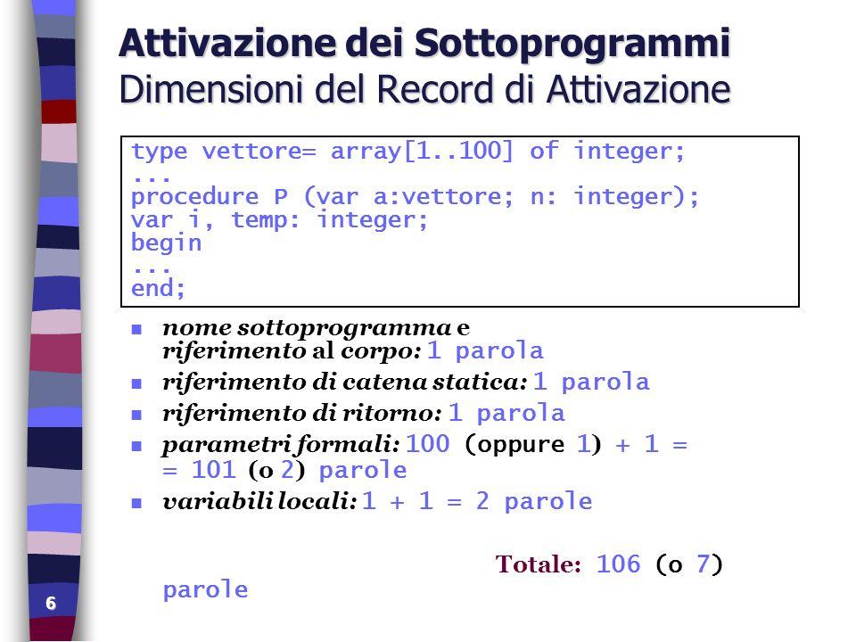 17 Mutua Ricorsione Direttiva Forward program Conversione; VAR num : integer; ancora : BOOLEAN; risposta : CHAR; PROCEDURE stamparesto(q,r: integer); FORWARD; PROCEDURE stampaB(x: integer); VAR q, r : integer; BEGIN q := x DIV 2; r := x MOD 2; stamparesto(q, r); END; PROCEDURE stamparesto (q,r: integer); BEGIN IF q > 0 THEN stampaB(q); write(r); END; BEGIN writeln( Conversione ); writeln( decimali -> binari ); REPEAT writeln; write( Immettere numero: ); readln(num); writeLn; write(num, decimale ); write( in binario e : ); stampaB(num); writeLn; write( Ancora.
