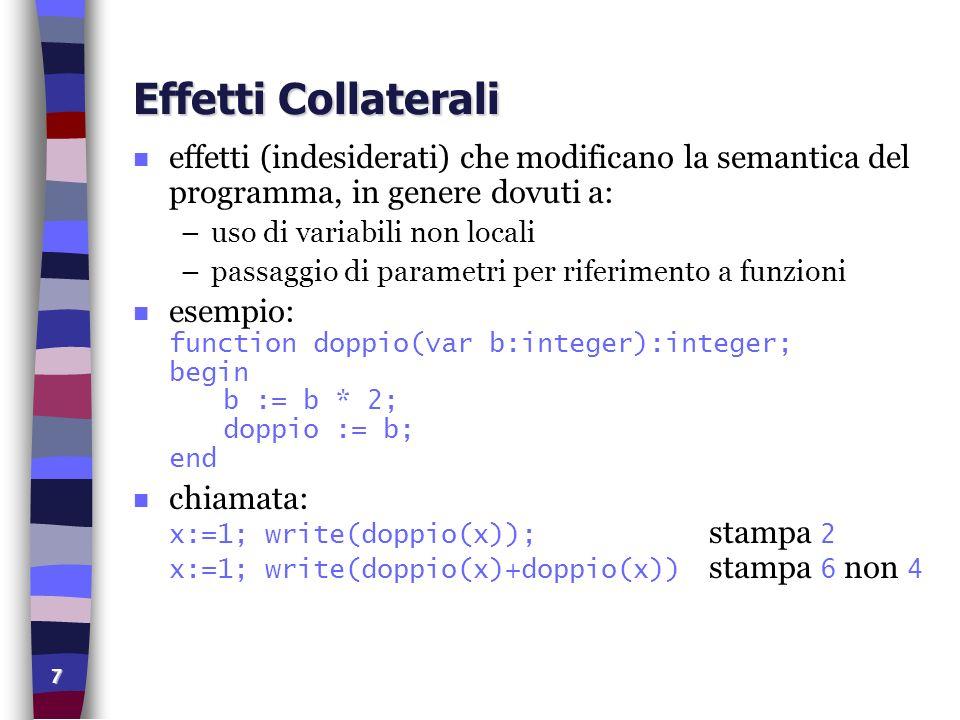 7 Effetti Collaterali n effetti (indesiderati) che modificano la semantica del programma, in genere dovuti a: –uso di variabili non locali –passaggio di parametri per riferimento a funzioni esempio: function doppio(var b:integer):integer; begin b := b * 2; doppio := b; end chiamata: x:=1; write(doppio(x)); stampa 2 x:=1; write(doppio(x)+doppio(x)) stampa 6 non 4