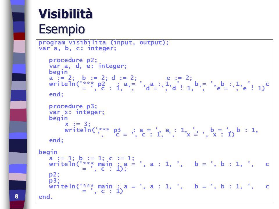 9 Visibilità output *** main : a = 1, b = 1, c = 1 *** p2 : a = 2, b = 2, c = 1, d = 2, e = 2 *** p3 : a = 1, b = 2, c = 1, x = 3 *** main : a = 1, b = 2, c = 1