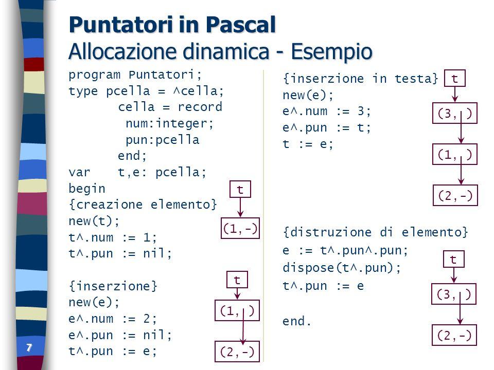 7 Puntatori in Pascal Allocazione dinamica - Esempio program Puntatori; type pcella = ^cella; cella = record num:integer; pun:pcella end; vart,e: pcella; begin {creazione elemento} new(t); t^.num := 1; t^.pun := nil; {inserzione} new(e); e^.num := 2; e^.pun := nil; t^.pun := e; {inserzione in testa} new(e); e^.num := 3; e^.pun := t; t := e; {distruzione di elemento} e := t^.pun^.pun; dispose(t^.pun); t^.pun := e end.