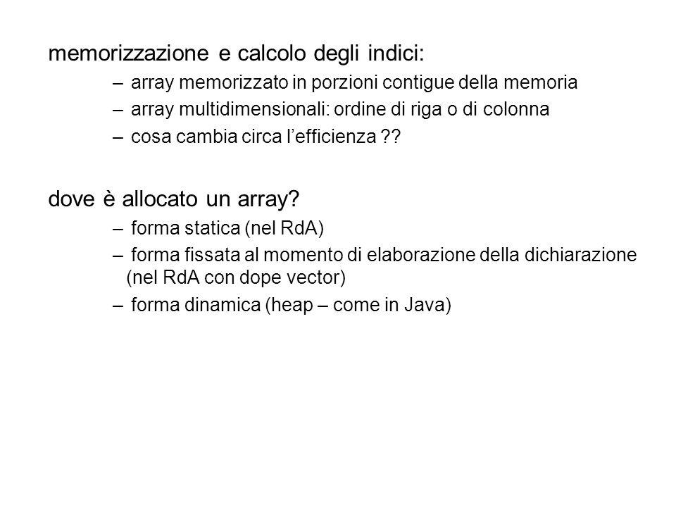 memorizzazione e calcolo degli indici: – array memorizzato in porzioni contigue della memoria – array multidimensionali: ordine di riga o di colonna – cosa cambia circa lefficienza .