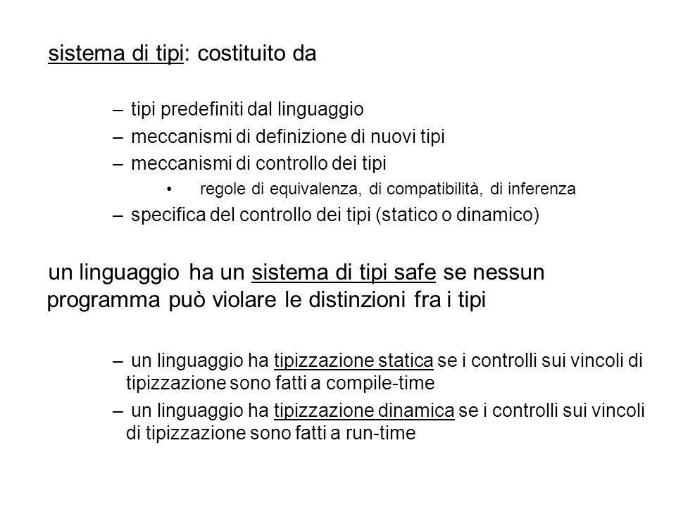 sistema di tipi: costituito da – tipi predefiniti dal linguaggio – meccanismi di definizione di nuovi tipi – meccanismi di controllo dei tipi regole di equivalenza, di compatibilità, di inferenza – specifica del controllo dei tipi (statico o dinamico) un linguaggio ha un sistema di tipi safe se nessun programma può violare le distinzioni fra i tipi – un linguaggio ha tipizzazione statica se i controlli sui vincoli di tipizzazione sono fatti a compile-time – un linguaggio ha tipizzazione dinamica se i controlli sui vincoli di tipizzazione sono fatti a run-time