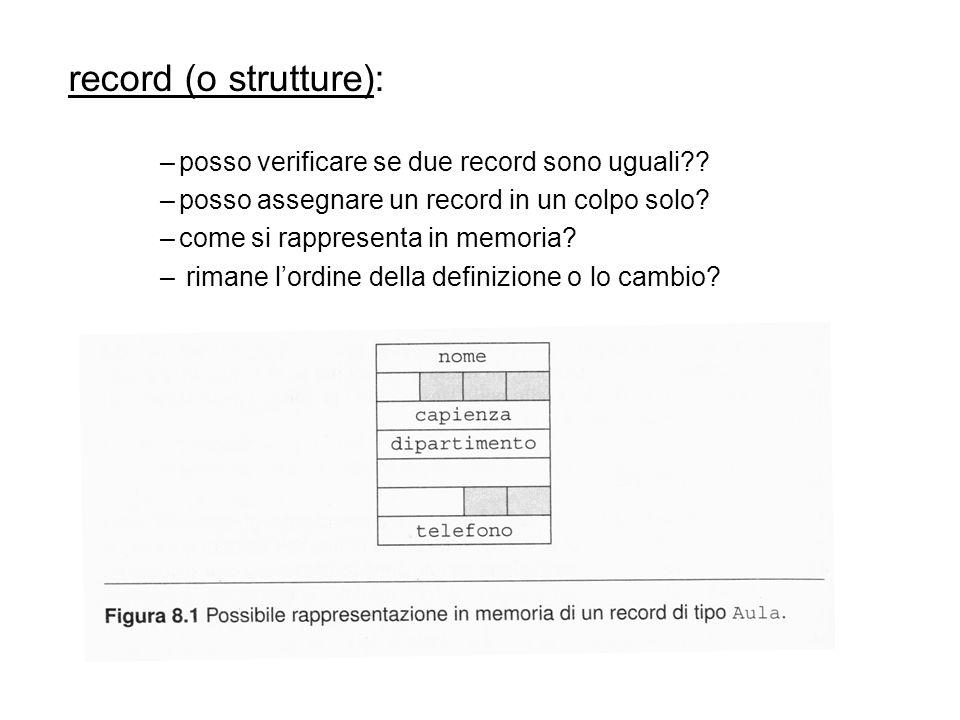 record (o strutture): –posso verificare se due record sono uguali .
