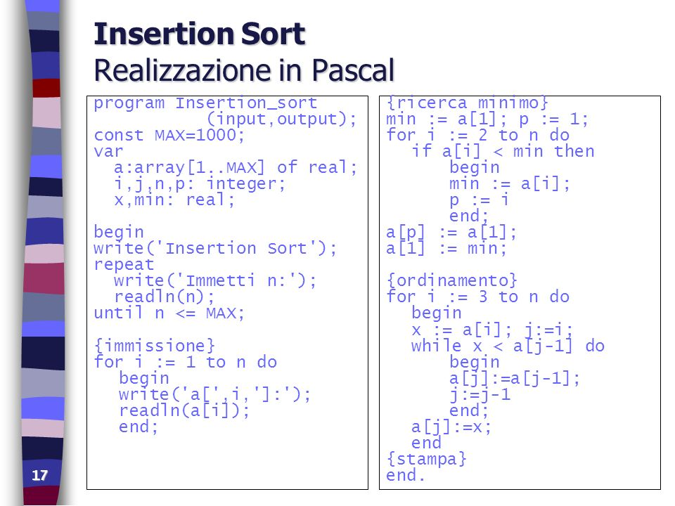 17 Insertion Sort Realizzazione in Pascal program Insertion_sort (input,output); const MAX=1000; var a:array[1..MAX] of real; i,j,n,p: integer; x,min: real; begin write( Insertion Sort ); repeat write( Immetti n: ); readln(n); until n <= MAX; {immissione} for i := 1 to n do begin write( a[ ,i, ]: ); readln(a[i]); end; {ricerca minimo} min := a[1]; p := 1; for i := 2 to n do if a[i] < min then begin min := a[i]; p := i end; a[p] := a[1]; a[1] := min; {ordinamento} for i := 3 to n do begin x := a[i]; j:=i; while x < a[j-1] do begin a[j]:=a[j-1]; j:=j-1 end; a[j]:=x; end {stampa} end.