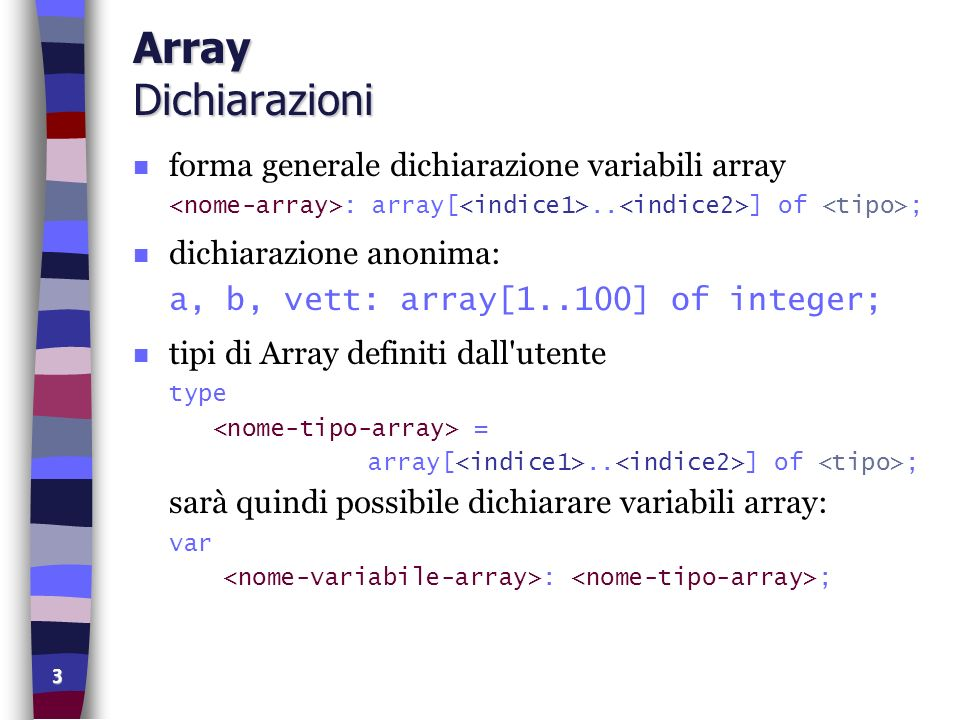 14 Array Fusione di Vettori program fusione (input, output); const MAX = 1000; var vet1, vet2: array [1..MAX] of char; vet3: array [1..2000] of char; n, m: integer; aux: char; i, j, w, p, n1:INTEGER; m1, i1, j1: integer; k: boolean; begin repeat write( Lunghezza primo vettore: ); readln(n); until (n>=1) and (n<=MAX); for i:=1 to n do begin write( Inserire , i, º elemento di vet1: ); readln(vet1[i]); end; repeat write( Lunghezza secondo vettore: ); readln(m); until (m>=1) and (m<=MAX); for i:=1 to m do begin write( Inserire , i, º elemento vet2: ); readln(vet2[i]); end;