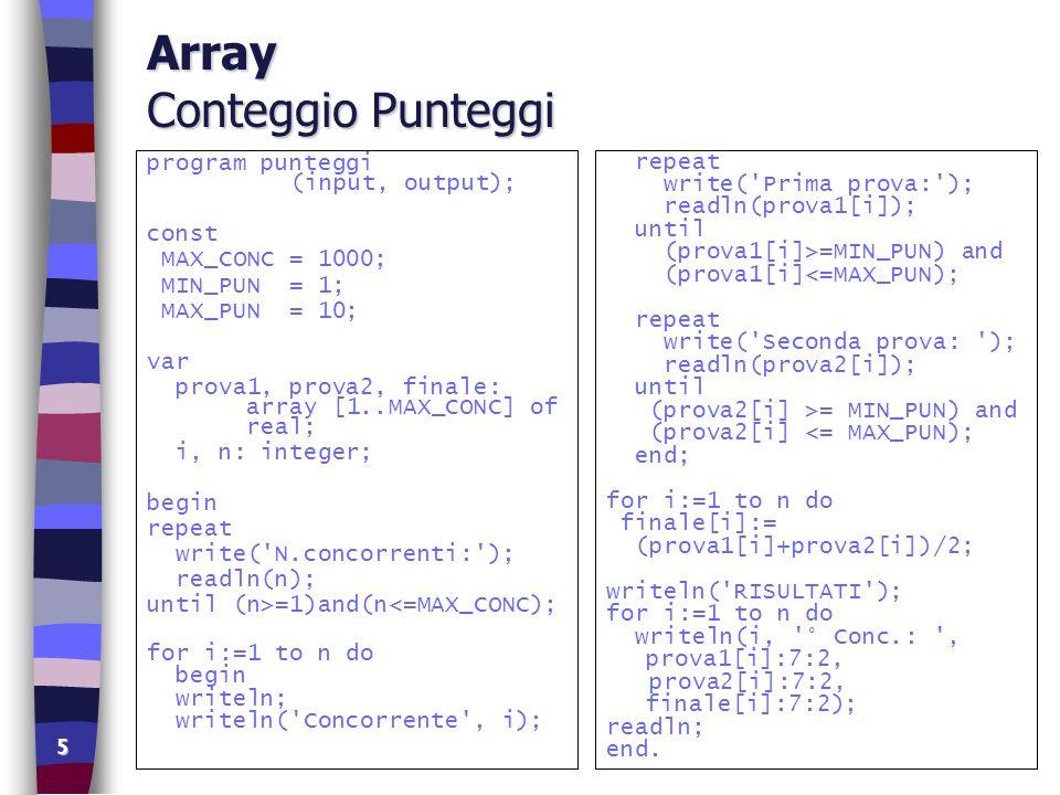 6 Tipi Sottointervallo tipi di Array definiti dall utente type =..