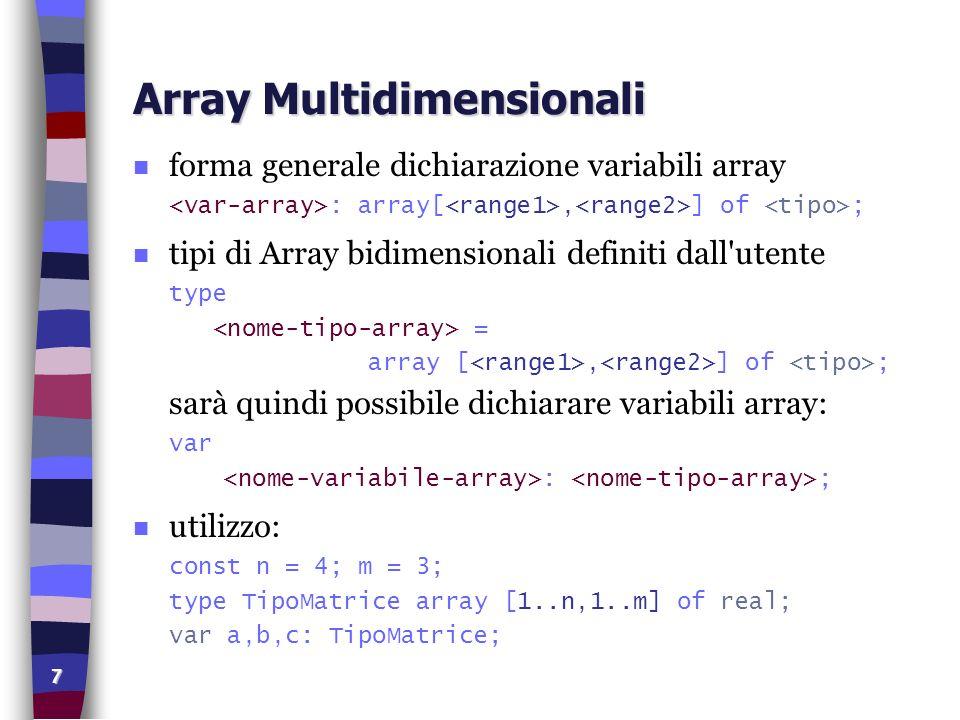 8 Array Multidimensionali Immissione program matrice (input, output); var mat: array[1..4, 1..3] of integer; i, j: integer; begin writeln( INIZIALIZZAZIONE DELLA MATRICE ); writeln; for i:=1 to 4 do for j:=1 to 3 do begin write( Inserisci mat[,i,,,j,]= ); readln(mat[i,j]); end; for i:=1 to 4 do begin writeln; for j:=1 to 3 do write(mat[i,j]:5); end; end.