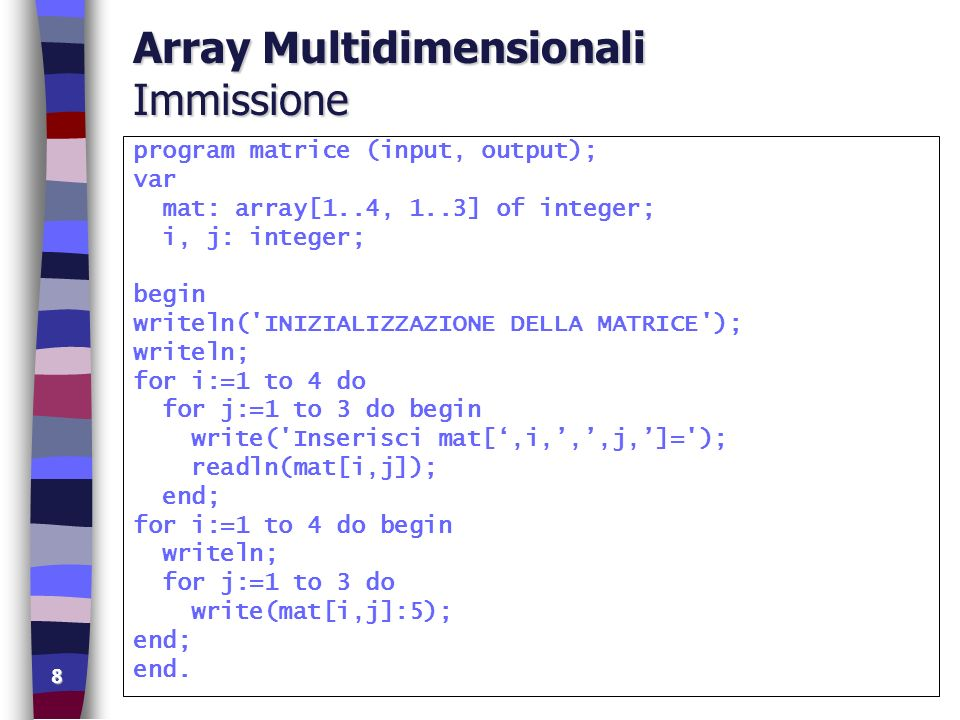 8 Array Multidimensionali Immissione program matrice (input, output); var mat: array[1..4, 1..3] of integer; i, j: integer; begin writeln( INIZIALIZZAZIONE DELLA MATRICE ); writeln; for i:=1 to 4 do for j:=1 to 3 do begin write( Inserisci mat[,i,,,j,]= ); readln(mat[i,j]); end; for i:=1 to 4 do begin writeln; for j:=1 to 3 do write(mat[i,j]:5); end; end.