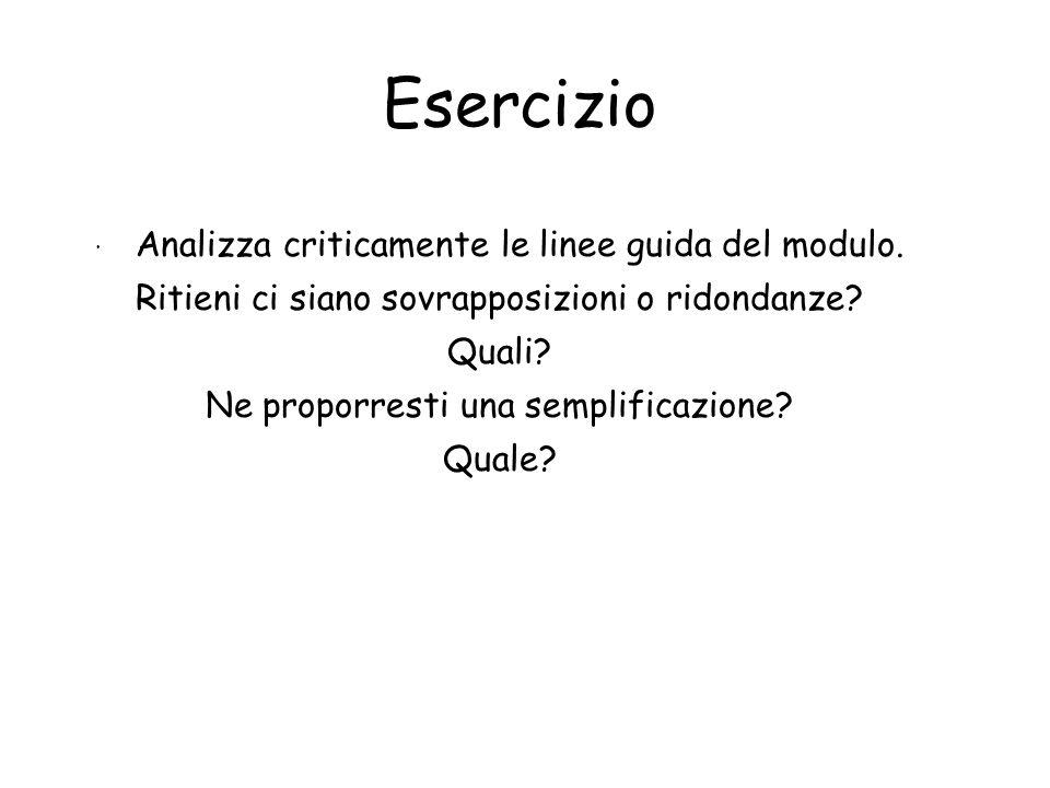 Esercizio · Analizza criticamente le linee guida del modulo.
