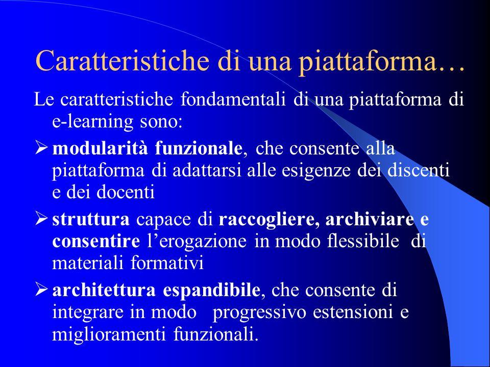 Caratteristiche di una piattaforma… Le caratteristiche fondamentali di una piattaforma di e-learning sono: modularità funzionale, che consente alla pi